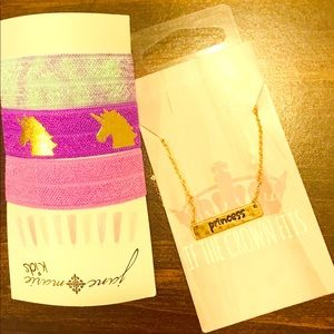 Girls 3 Pack Hair Ties and Princess Necklace